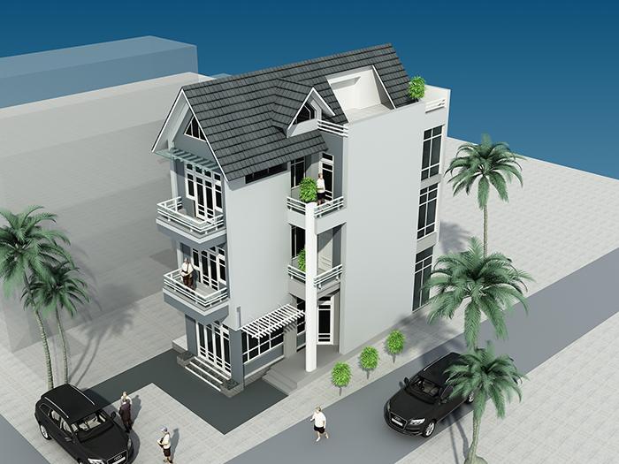 Mẫu nhà 3 tầng với chi phí xây 1,2 tầng