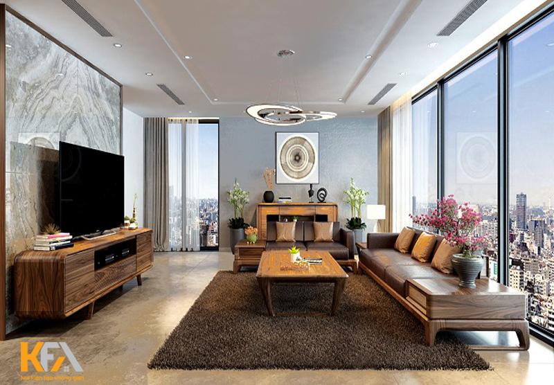 05 mẫu thiết kế nội thất phòng khách chung cư gỗ tự nhiên